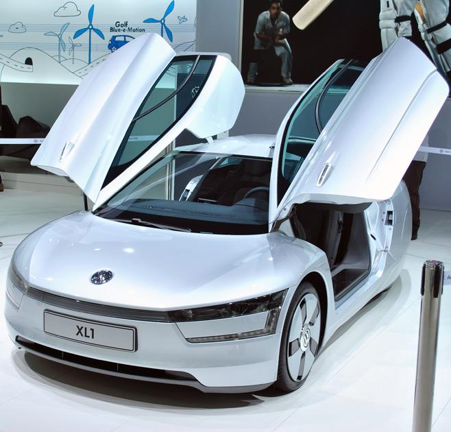 Volkswagen XL1 showcased at the 2012 Delhi Auto Expo