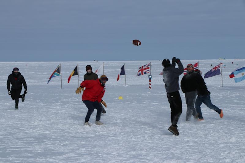 Football finds its way to the South Pole. (Photo courtesy of Bill Coughran)