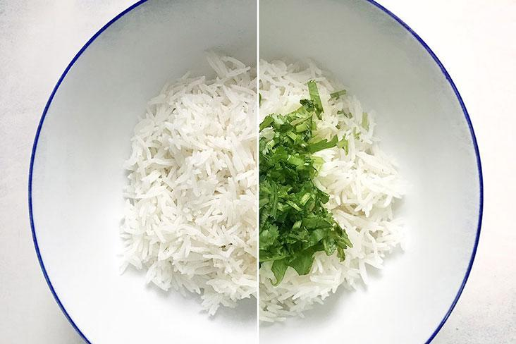 Add the coarsely chopped cilantro to your freshly fluffed steamed rice.