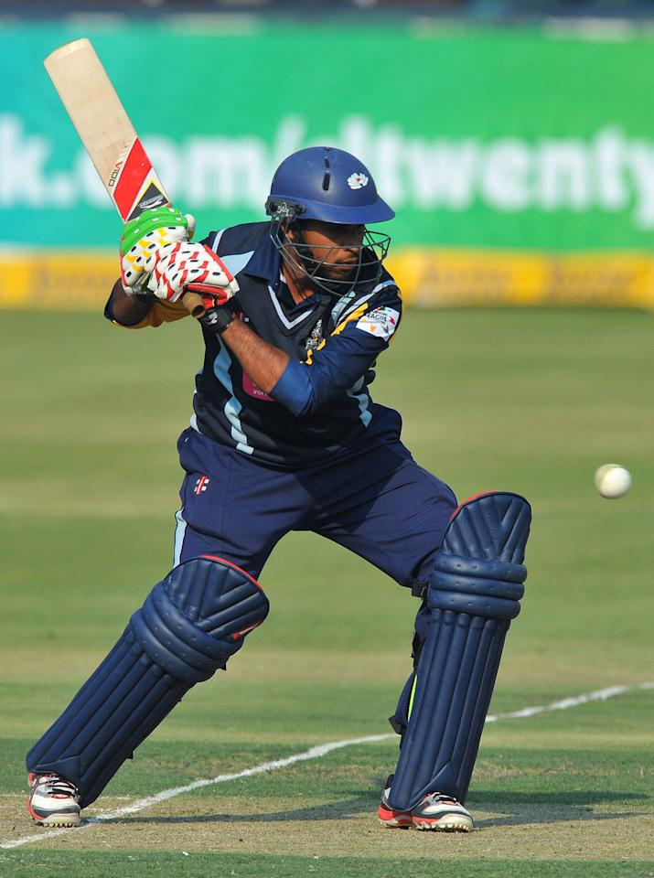 JOHANNESBURG, SOUTH AFRICA - OCTOBER 09:  Adil Rashid of Yorkshire about to hit square during the Karbonn Smart CLT20 pre-tournament Qualifying Stage match between Yorkshire (England) and Uva Next (Sri Lanka) at Bidvest Wanderers Stadium on October 09, 2012 in Johannesburg, South Africa.  (Photo by Duif du Toit/Gallo Images/Getty Images)
