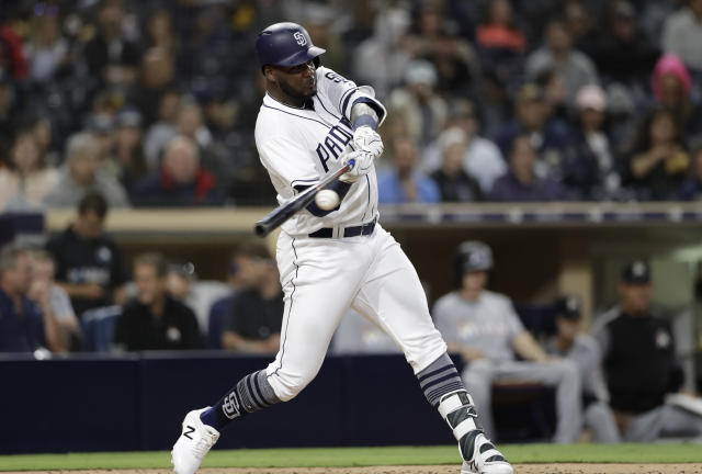 "<a class=""link rapid-noclick-resp"" href=""/mlb/teams/sdg"" data-ylk=""slk:San Diego Padres"">San Diego Padres</a>' <a class=""link rapid-noclick-resp"" href=""/mlb/players/11016/"" data-ylk=""slk:Franmil Reyes"">Franmil Reyes</a> is revealing big time power upside (AP Photo)."