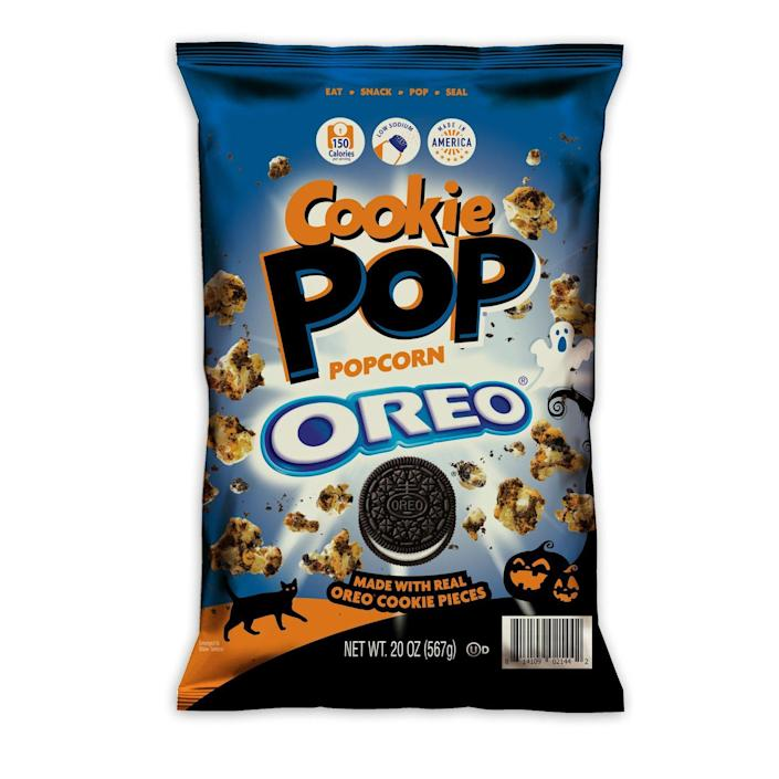 """<p>Oreo popcorn took the world by storm just a few months ago, and now it's back with a festive version that uses crumbly Oreo cookie pieces and orange creme drizzle. Bags can be found at Sam's club and are perfect for a spooky movie marathon. This Halloween version's not available online, yet but you can get all the other <a href=""""https://www.amazon.com/Cookie-Pop-Popcorn-Pieces-5-25oz/dp/B086NJCH97?tag=syn-yahoo-20&ascsubtag=%5Bartid%7C1782.g.22727687%5Bsrc%7Cyahoo-us"""" rel=""""nofollow noopener"""" target=""""_blank"""" data-ylk=""""slk:candy-covered popcorn on Amazon"""" class=""""link rapid-noclick-resp"""">candy-covered popcorn on Amazon</a>.</p>"""
