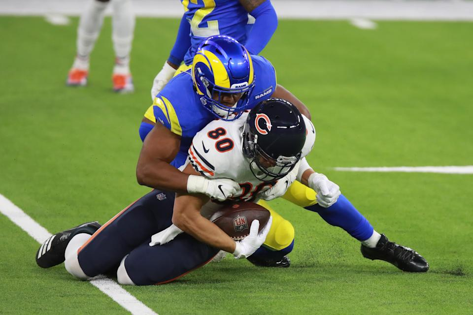 INGLEWOOD, CALIFORNIA - OCTOBER 26: Jimmy Graham #80 of the Chicago Bears is tackled in the second quarter against the Los Angeles Rams at SoFi Stadium on October 26, 2020 in Inglewood, California. (Photo by Joe Scarnici/Getty Images)