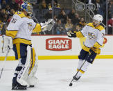 Nashville Predators' Viktor Arvidsson (33) comes to goaltender Pekka Rinne to celebrate Arvidsson's goal against the Pittsburgh Penguins during the second period of an NHL hockey game Saturday, Dec. 28, 2019, in Pittsburgh. (AP Photo/Keith Srakocic)