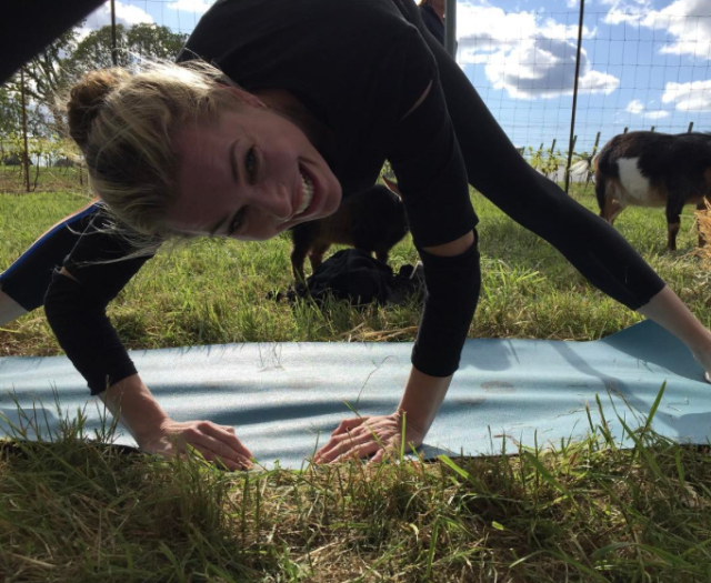 """<p>The model actress is repping the next big thing: goat yoga. """"I've goat this #goatyoga,"""" she quipped as she struck a pose in the grass. (Photo: <a href=""""https://www.instagram.com/p/BTzl3XADsY-/"""" rel=""""nofollow noopener"""" target=""""_blank"""" data-ylk=""""slk:Rebecca Romijn via Instagram"""" class=""""link rapid-noclick-resp"""">Rebecca Romijn via Instagram</a>) </p>"""