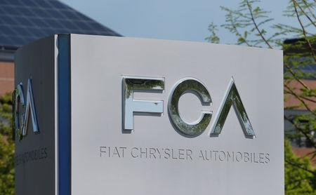 A Fiat Chrysler Automobiles (FCA) sign is seen at its U.S. headquarters in Auburn Hills, Michigan