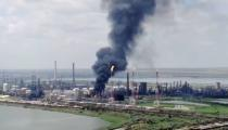 Drone footage shows fire at Romania's Black sea refinery