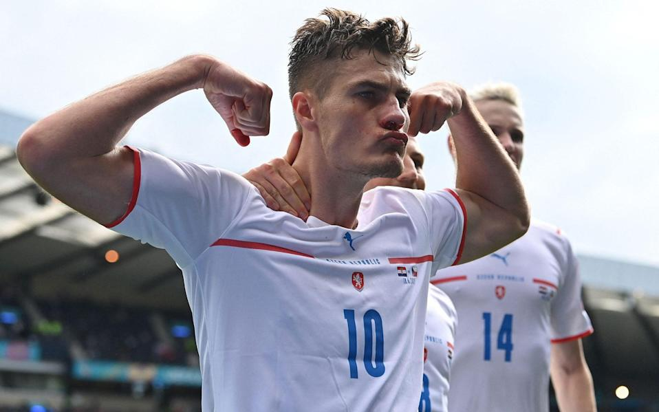 Czech Republic's forward Patrik Schick celebrates after scoring a penalty during the UEFA EURO 2020 Group D football match between Croatia and Czech Republic at Hampden Park in Glasgow on June 18, 2021 - PAUL ELLIS/POOL/AFP via Getty Images