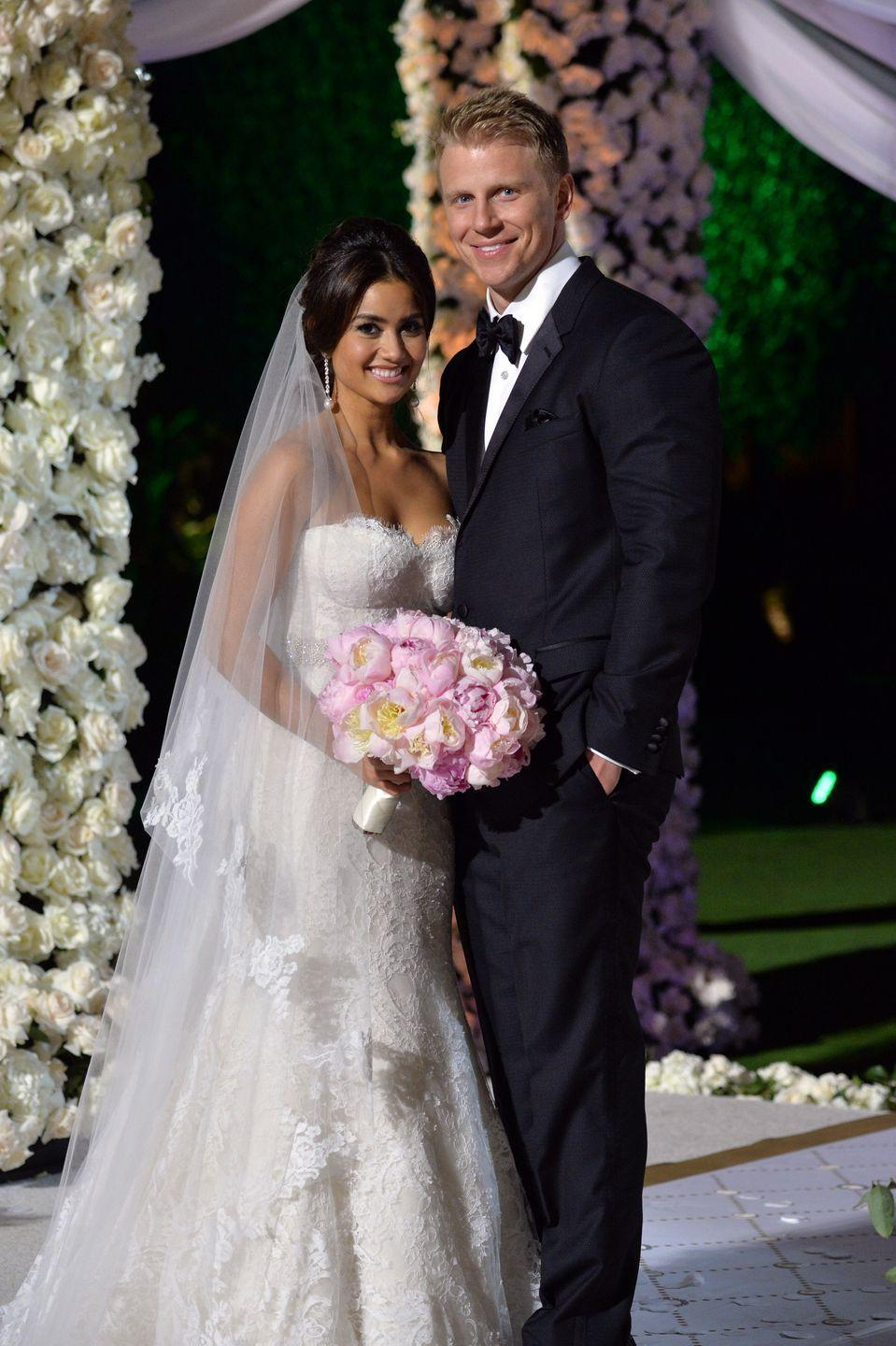 "<p>One of Bachelor nation's favorite couples tied the knot in a made-for-TV ceremony estimated to <a href=""https://ew.com/article/2014/01/27/the-bachelor-wedding-catherine-giudici-sean-lowe-fashion/#:~:text=(Life%20%26%20Style%20estimates%20the%20cost,and%20Ryan%20Sutter%20in%202003.)"" rel=""nofollow noopener"" target=""_blank"" data-ylk=""slk:cost around"" class=""link rapid-noclick-resp"">cost around</a> $250,000. Lucky for them, they didn't have to pay a dime. ABC covered it all! </p>"