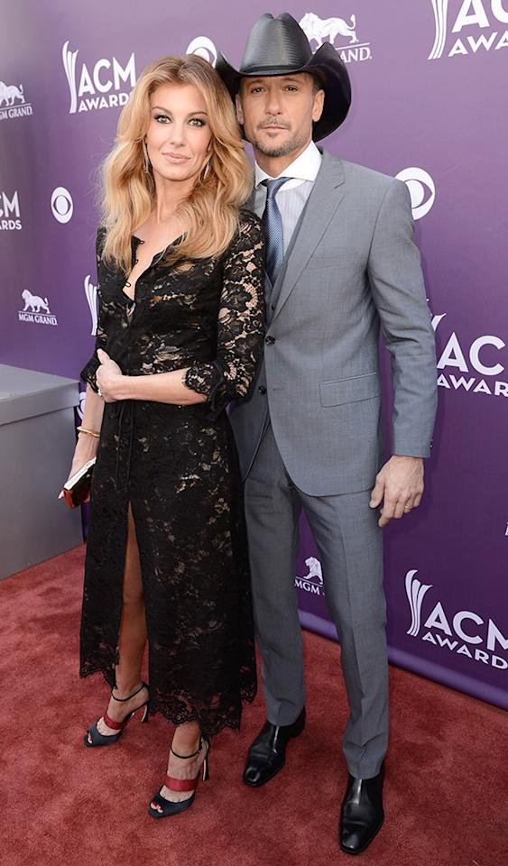 LAS VEGAS, NV - APRIL 07:  Singers Faith Hill (L) and Tim McGraw attend the 48th Annual Academy of Country Music Awards at the MGM Grand Garden Arena on April 7, 2013 in Las Vegas, Nevada.  (Photo by Frazer Harrison/ACMA2013/Getty Images for ACM)