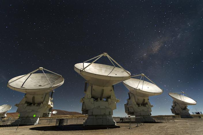 A cluster of radio antennas that make up the Atacama Large Millimeter/submillimeter Array