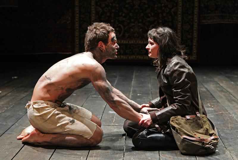 """In this theater publicity image released by The Publicity Office, Clayton Apgar, left, and MacKenzie Meehan are shown in a scene from """"Double Falsehood,"""" in a limited run off-Broadway at the Classic Stage Company in New York. (AP Photo/The Publicity Office, Joan Marcus)"""