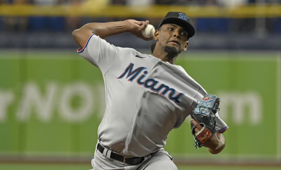 Miami Marlins starter Edward Cabrera pitches against the Tampa Bay Rays during the first inning of a baseball game Friday, Sept. 24, 2021, in St. Petersburg, Fla. (AP Photo/Steve Nesius)