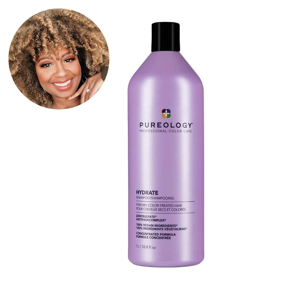 "Pureology's Hydrate Shampoo is on the pricier side but it's worth it. Some toning shampoos can be drying but the sulfate-free formula helps with that a little. I still recommend using a deep conditioner if you have curls because dry hair is common when you go blonde, but overall this shampoo is great for toning the brassiness. —<em>C.B.</em> $30, Pureology. <a href=""https://shop-links.co/1735266416325887306"" rel=""nofollow noopener"" target=""_blank"" data-ylk=""slk:Get it now!"" class=""link rapid-noclick-resp"">Get it now!</a>"