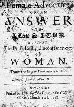 The title page of a 1686 book entitled 'The Female Advocate'