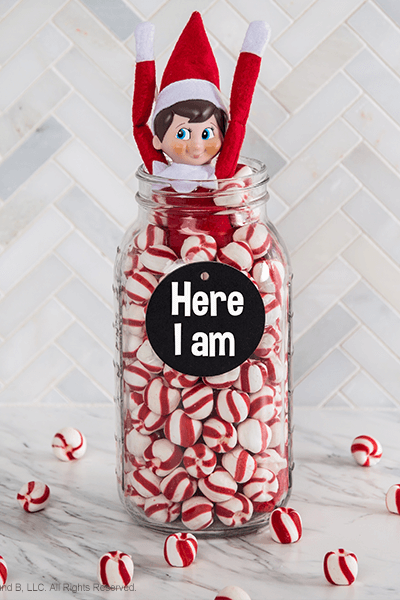 """<p>Few things feel more """"Christmas"""" than peppermint! With this idea, your kids will be treated to the return of their favorite mischief-maker <em>and</em> a slew of candies.</p><p><strong>G</strong><strong>et the tutorial at <a href=""""https://www.elfontheshelf.com/blog/return-ideas"""" rel=""""nofollow noopener"""" target=""""_blank"""" data-ylk=""""slk:The Elf on the Shelf"""" class=""""link rapid-noclick-resp"""">The Elf on the Shelf</a>.</strong> </p>"""