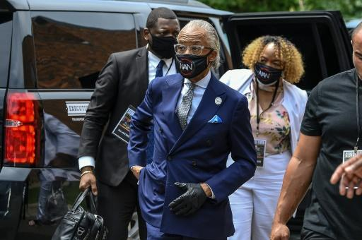 Civil rights activist Reverend Al Sharpton arrives for the memorial service in honor of George Floyd on June 4, 2020, in Minneapolis, Minnesota