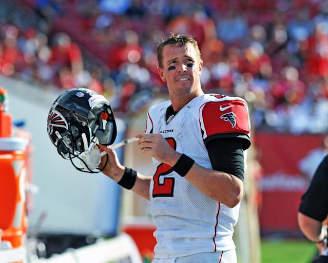 TAMPA, FL - NOVEMBER 17: Quarterback Matt Ryan #2 of the Atlanta Falcons checks the socreboard in the 4th quarter against the Tampa Bay Buccaneers November 17, 2013 at Raymond James Stadium in Tampa, Florida. The Bucs won 41 - 28. (Photo by Al Messerschmidt/Getty Images)