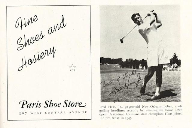 "<div class=""caption""> Fred Haas Jr., wearing shorts, in a golf tournament program from 1947. </div>"