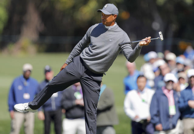 Tiger Woods reacts after missing a putt on the third hole during the first round of the Valspar Championship golf tournament Thursday, March 8, 2018, in Palm Harbor, Fla. (AP Photo/Mike Carlson)