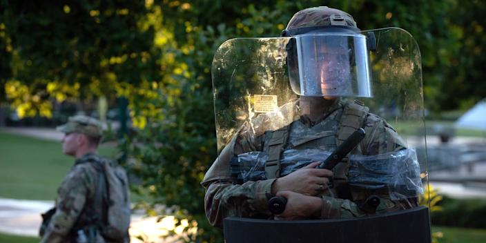 The National Guard protected a barricaded Centennial Olympic Park in Downtown Atlanta during a protest against the death in Minneapolis police custody of African-American man George Floyd, in Atlanta, Georgia