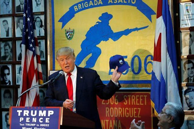 Then candidate Donald Trump visiting the Bay of Pigs Museum last year in Miami. (Photo: Jonathan Ernst/Reuters)