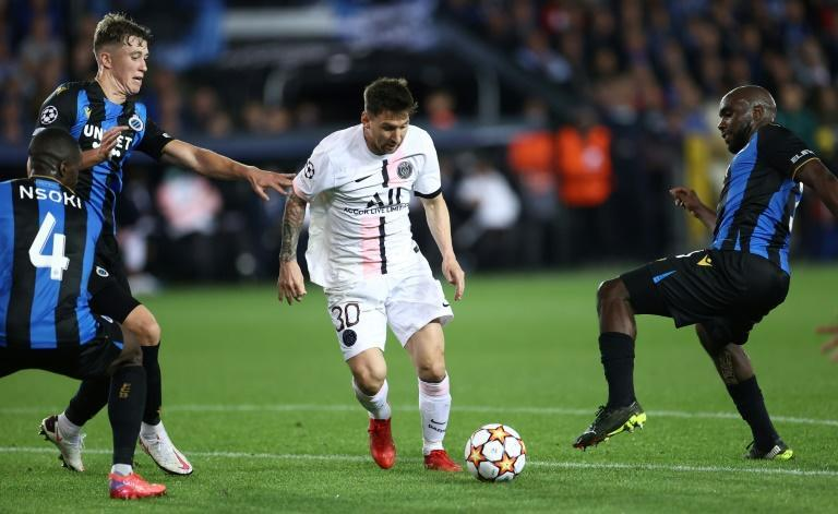 PSG were held to a 1-1 draw by Club Brugge as Lionel Messi made his first start for the French side (AFP/KENZO TRIBOUILLARD)