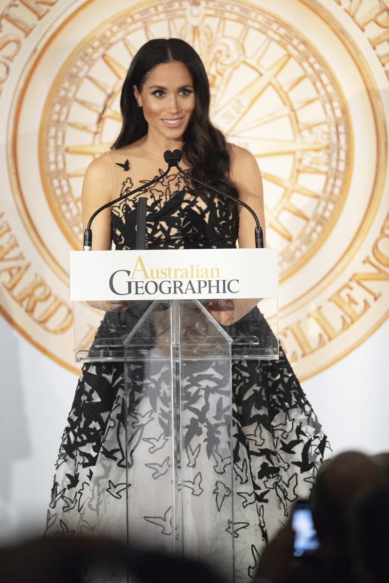 Meghan, Duchess of Sussex attends the Australian Geographic Society Awards to present youth awards to honor the highest achievements in conservation and adventure at the Shangri-La Hotel in Sydney on Oct. 26. (Pool via Getty Images)