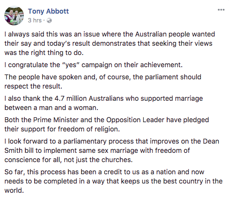 Tony Abbott has also taken to social media to share his respect for the Yes landslide. Source: Facebook