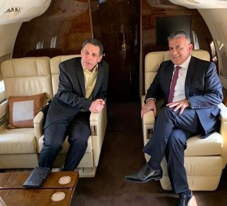 Freed Lebanese businessman Nizar Zakka is pictured with Major General Abbas Ibrahim, Lebanon's internal security chief, aboard the plane in this handout released by Lebanese General Security Directorate