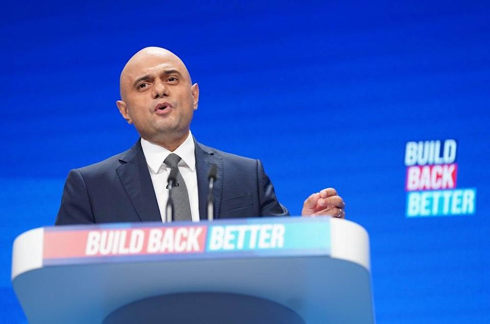 Health Secretary Sajid Javid making his keynote address to the Conservative Party conference in Manchester (Stefan Rousseau/PA) (PA Wire)