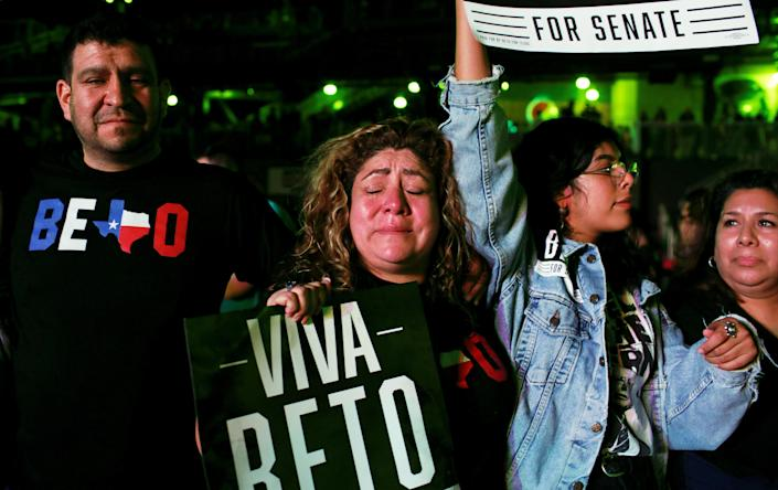 A supporter of Democratic Rep. Beto O'Rourke cries as he concedes to Sen. Ted Cruz at his midterm election night party in El Paso, Texas, on Tuesday. (Photo: Mike Segar/Reuters)