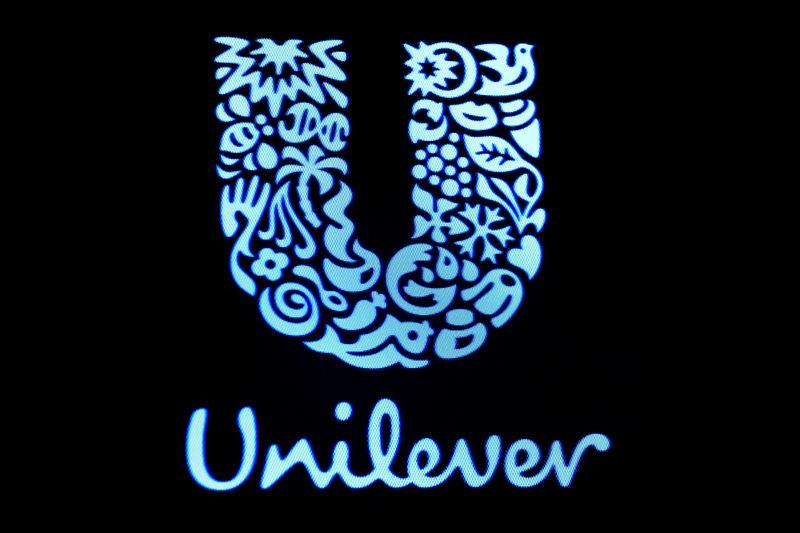 FILE PHOTO: The company logo for Unilever is displayed on a screen on the floor of the New York Stock Exchange (NYSE) in New York, U.S., February 17, 2017. REUTERS/Brendan McDermid/File Photo