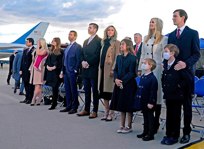 <p>Ivanka Trump, husband Jared Kushner and their children, Eric Trump, Donald Trump Jr. and Trump family members stand on the tarmac at Joint Base Andrews. </p>