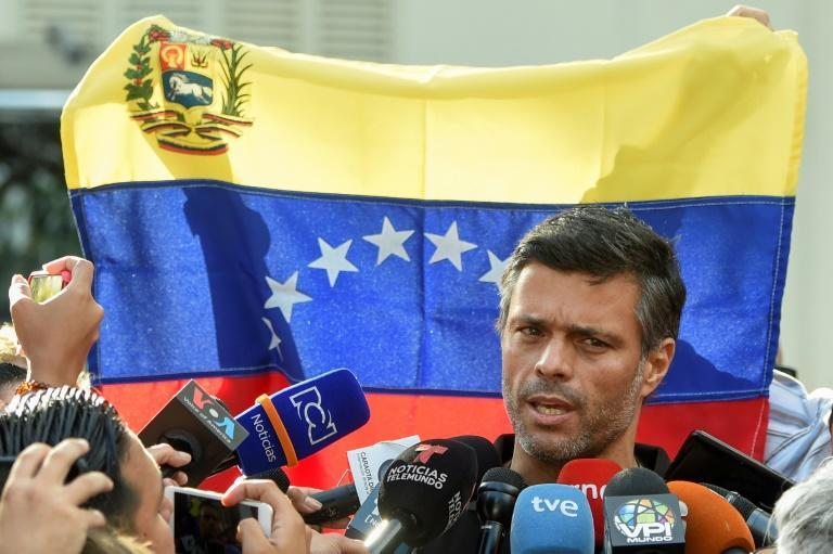 Leopoldo Lopez, shown here in 2019, has fled Venezuela and is en route to Spain, his father said on October 24, 2020