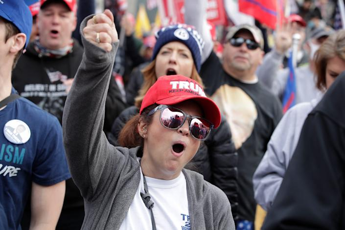 Supporters of President Donald Trump attend a rally at Freedom Plaza, Saturday, Dec. 12, 2020, in Washington.