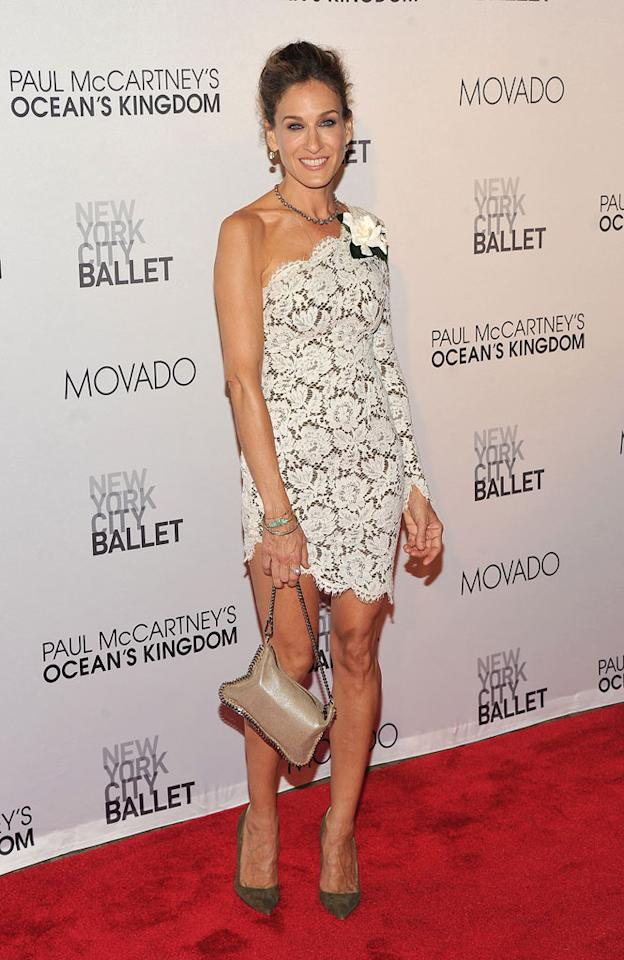 "Is anyone else getting a Bride of Frankenstein vibe from this picture of Sarah Jessica Parker (in a doily-like Stella McCartney dud of a dress) at the NYC Ballet Fall Gala? Stephen Lovekin/<a href=""http://www.gettyimages.com/"" target=""new"">GettyImages.com</a> - September 22, 2011"