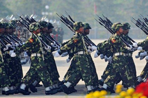 Myanmar's troops parade on March 27