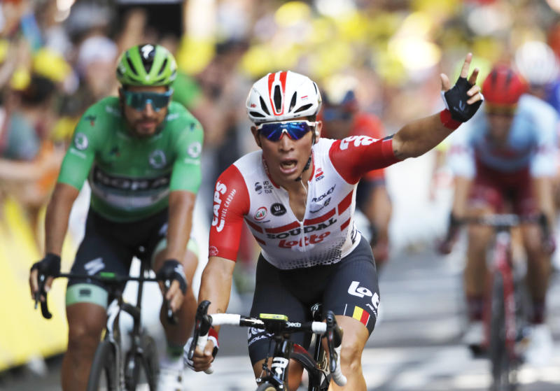 Australia's Caleb Ewan celebrates as he crosses the finish line to win the eleventh stage of the Tour de France cycling race over 167 kilometers (103,77 miles) with start in Albi and finish in Toulouse, France, Wednesday, July 17, 2019. (AP Photo/Christophe Ena)