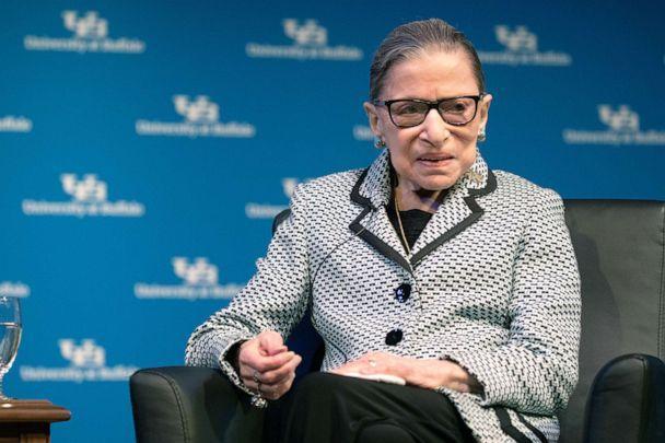 PHOTO: Supreme Court Justice Ruth Bader Ginsburg speaks during a reception where she was presented with an honorary doctoral degree at the University of Buffalo School of Law in Buffalo, N.Y., Aug. 26, 2019. (Lindsay Dedario/Reuters)