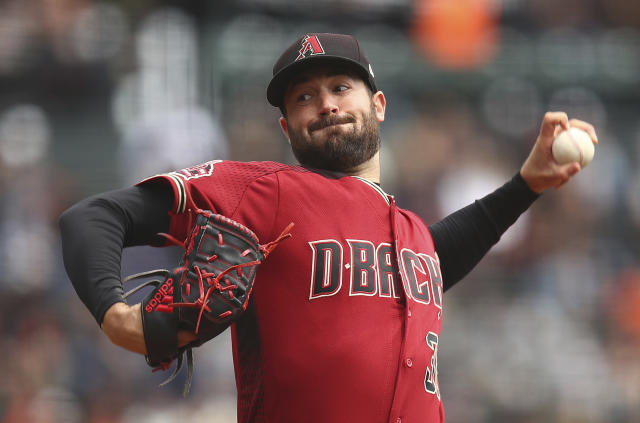 Arizona Diamondbacks pitcher Robbie Ray works against the San Francisco Giants in the first inning of a baseball game Wednesday, April 11, 2018, in San Francisco. (AP Photo/Ben Margot)