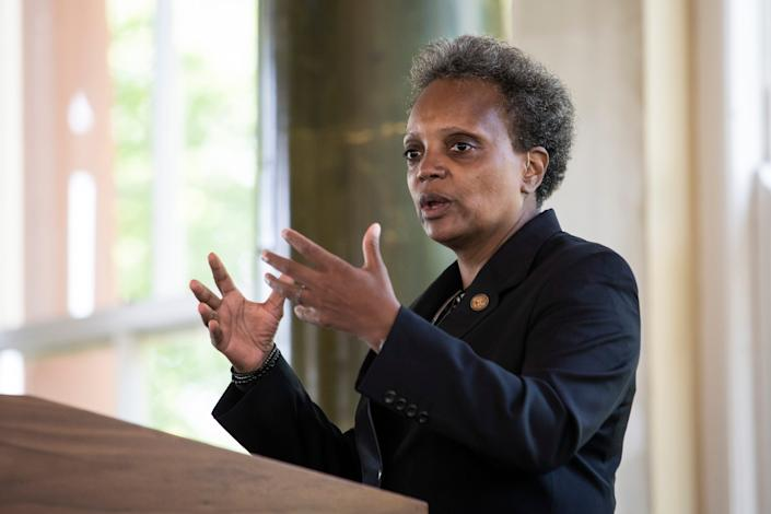 Chicago Mayor Lori Lightfoot speaks at the South Shore Cultural Center on July 9, 2020.