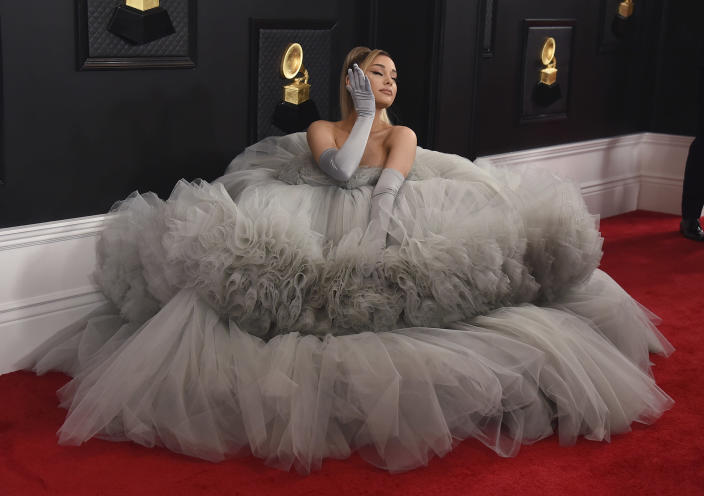 FILE - Ariana Grande arrives at the 62nd annual Grammy Awards on Jan. 26, 2020, in Los Angeles. Grande turns 28 on June 26. (Photo by Jordan Strauss/Invision/AP, File)