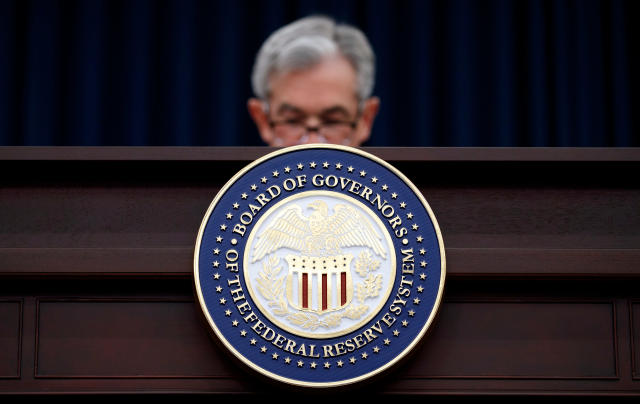 Federal Reserve Chairman Jerome Powell looks to his notes as he speaks during a news conference following the Federal Open Market Committee meeting in Washington. (AP Photo/Carolyn Kaster)