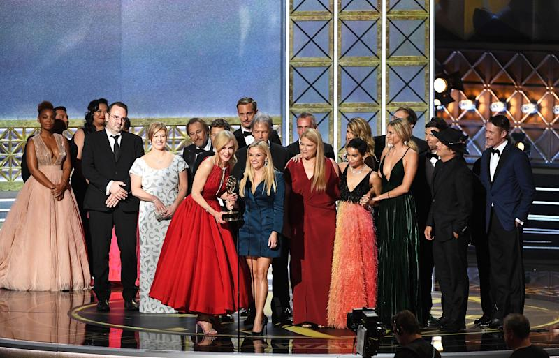 "Actors Nicole Kidman and Reese Witherspoon with cast and crew of ""Big Little Lies"" accept the Outstanding Limited Series award onstage during the 69th Annual Primetime Emmy Awards at Microsoft Theater on Sept. 17, 2017 in Los Angeles, California."