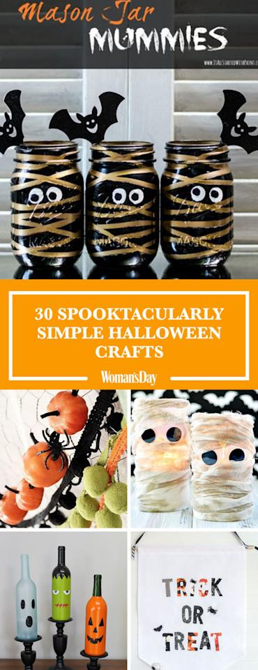 "<p>Save these Halloween craft ideas for later by pinning this image! Follow Woman's Day on <a rel=""nofollow"" href=""https://www.pinterest.com/womansday/"">Pinterest</a> for more spooky Halloween ideas. </p>"