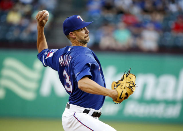 Texas Rangers starting pitcher Mike Minor (36) pitches against the Los Angeles Dodgers during the first inning of a baseball game Wednesday, Aug. 29, 2018, in Arlington, Texas. (AP Photo/Michael Ainsworth)