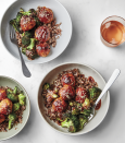 "This approachable weeknight dinner takes its cue from Japanese grilled chicken meatballs (tsukune), and the glossy, sweet-and-sour sauce that comes with it. <a href=""https://www.bonappetit.com/recipe/sheet-pan-chicken-meatballs-and-charred-broccoli?mbid=synd_yahoo_rss"" rel=""nofollow noopener"" target=""_blank"" data-ylk=""slk:See recipe."" class=""link rapid-noclick-resp"">See recipe.</a>"