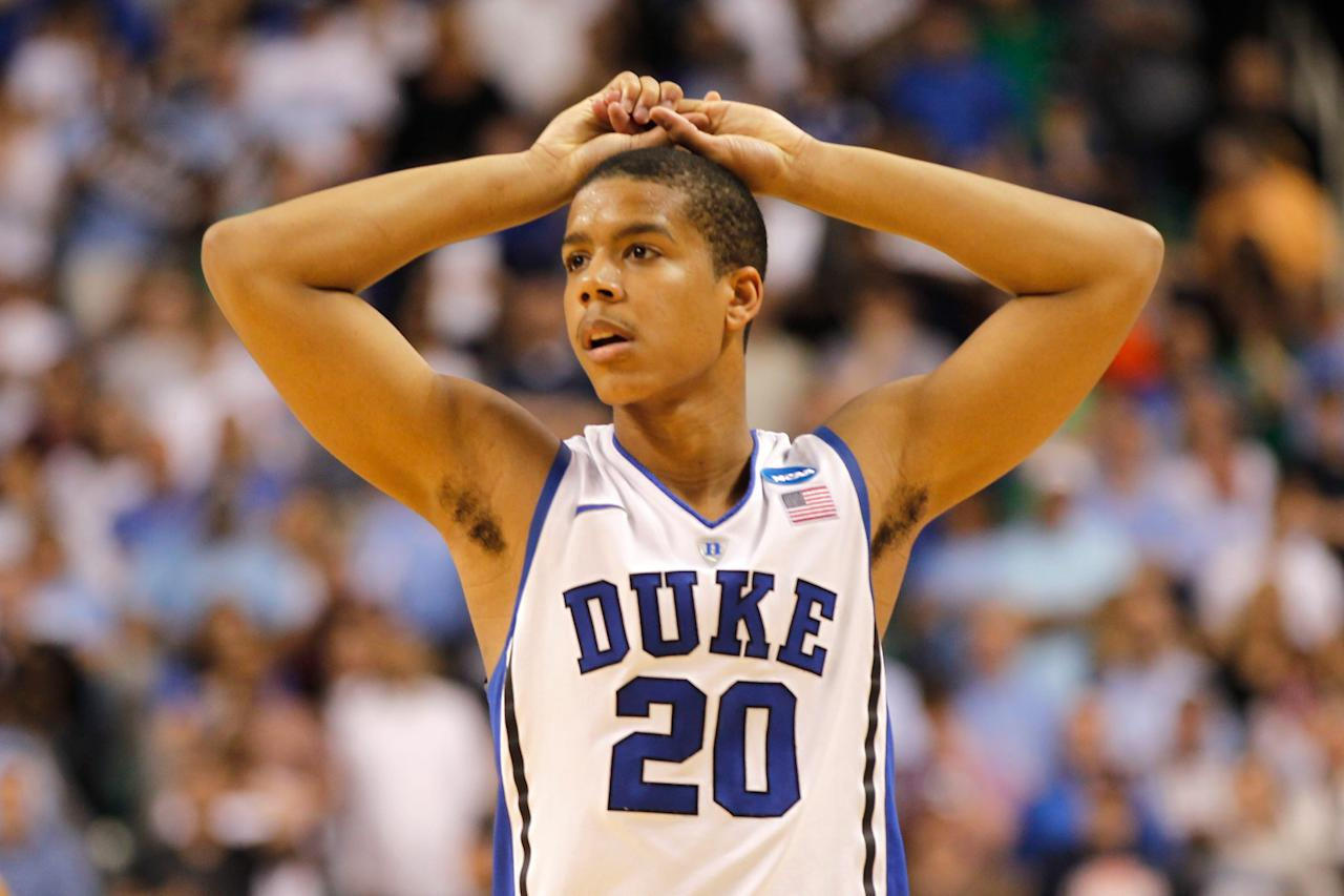GREENSBORO, NC - MARCH 16:  Andre Dawkins #20 of the Duke Blue Devils reacts in the second half while taking on the Lehigh Mountain Hawks during the second round of the 2012 NCAA Men's Basketball Tournament at Greensboro Coliseum on March 16, 2012 in Greensboro, North Carolina.  (Photo by Mike Ehrmann/Getty Images)