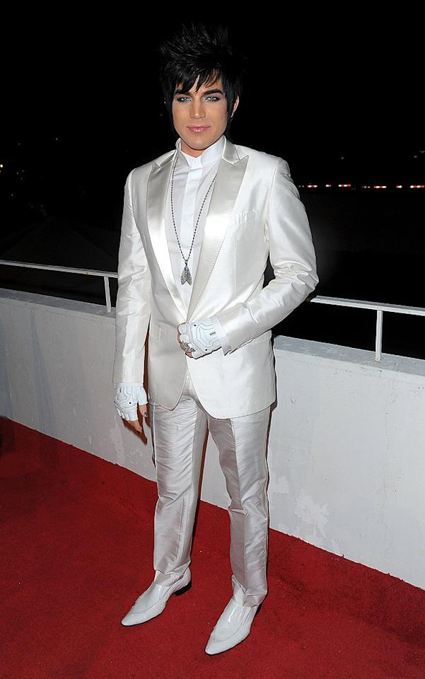 "Also in attendance at the star-studded soiree ... glam rocker Adam Lambert, who embarrassed himself yet again on the red carpet in a garish ensemble even Liberace wouldn't be caught dead in. Jason Merritt/<a href=""http://www.gettyimages.com/"" target=""new"">GettyImages.com</a> - January 16, 2010"